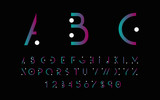 Black alphabetic fonts and numbers with color lines. Vector illustration. - 104196819