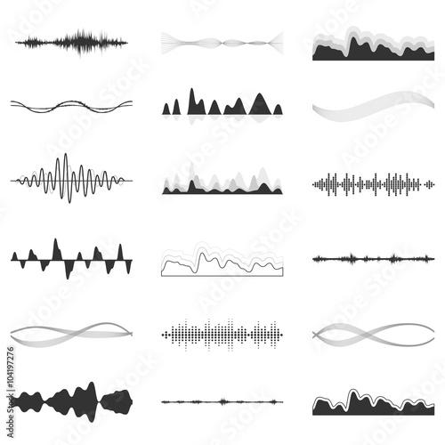 The equalizer, equalizer set,  icon set, vector set of waves, vector icons set waves, musical wave, sound waves, audio wave icon set, Audio equalizer technology, pulse musical , pulse musical set.
