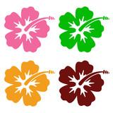 Icono plano hibisco en varios colores #1