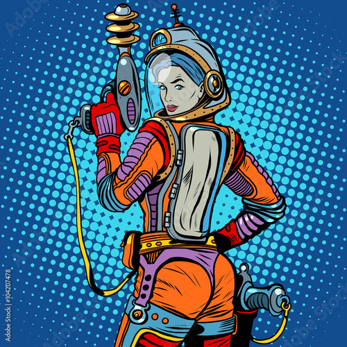 Girl space marine science fiction retro © studiostoks