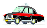 Caricatura GAZ Volga M21 policía soviética amarillo y azul vista frontal y lateral