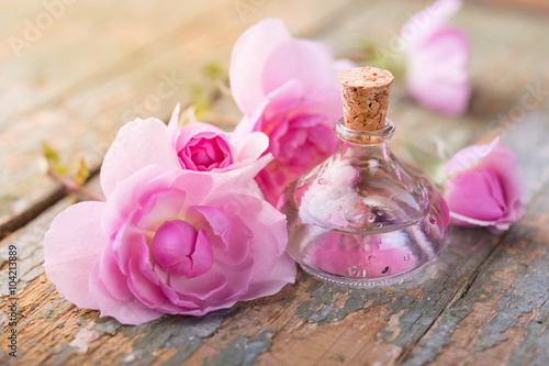 Poster Bottle of oil and pink rose flowers