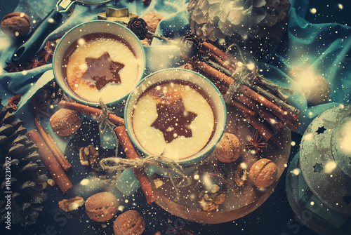 Poster Christmas Apple Tea Spices Cup Drink Shape Star