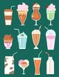 set of milkshakes with berries, milk beverages, ice cream