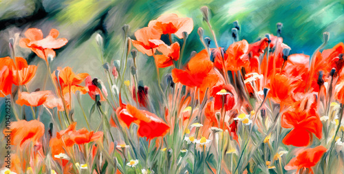 art watercolor poppies paint background  © Svetoslav Sokolov