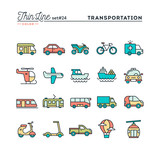 Fototapety Transportation and vehicles, thin line color icons set