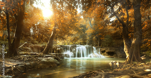 beautiful waterfall in tropical forest - 104278292