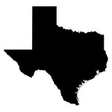 Texas black map on white background vector