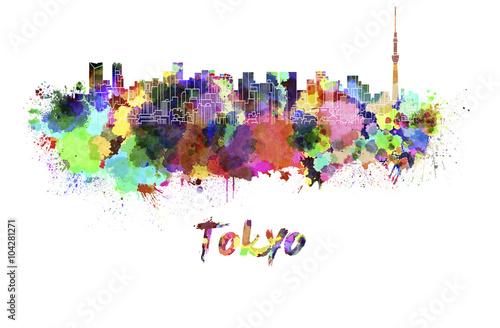 Fototapeta Tokyo V2 skyline in watercolor