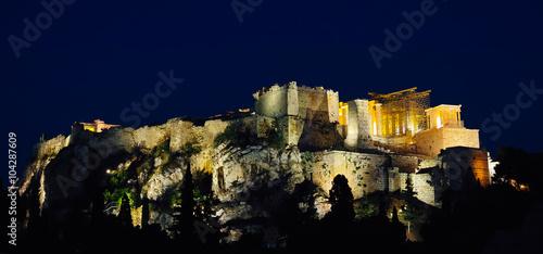 Staande foto Athene Night scenes of Acropolis and Parthenon