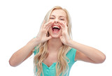 young woman or teenage girl shouting