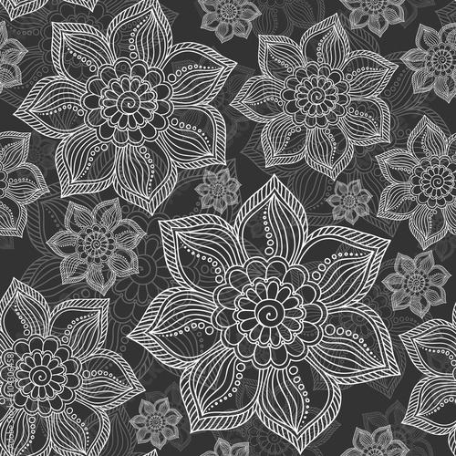 Tuinposter Stof Henna Mehndi Tattoo Doodles Seamless Pattern