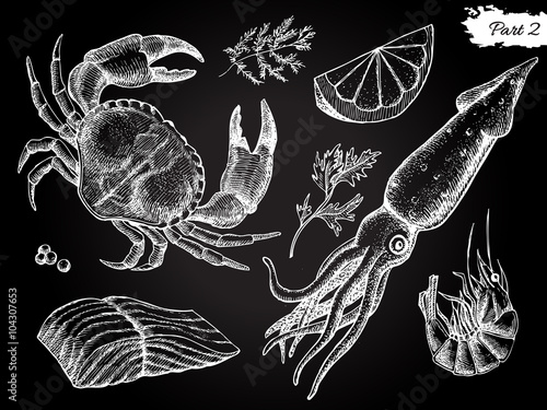 Canvastavla Vector vintage hand drawn seafood set.
