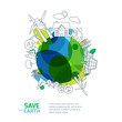 Environmental and ecology vector illustration. Green earth with outline sketch trees, house, wind turbine and solar battery. Background design for save earth day. Nature  and planet protection.