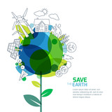 Vector illustration of growing plant and earth with outline trees, house, people and alternative energy generators. Green world, environment and ecology concept. Background design for save earth day.  - 104308650