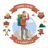turistiku a táboření ilustrační