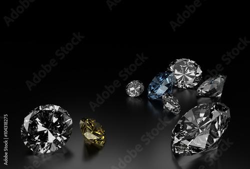 Diamenty na czarnym tle, niebieskie i żółte małe diamenty