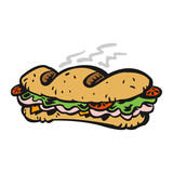 Submarine sandwich vector icon