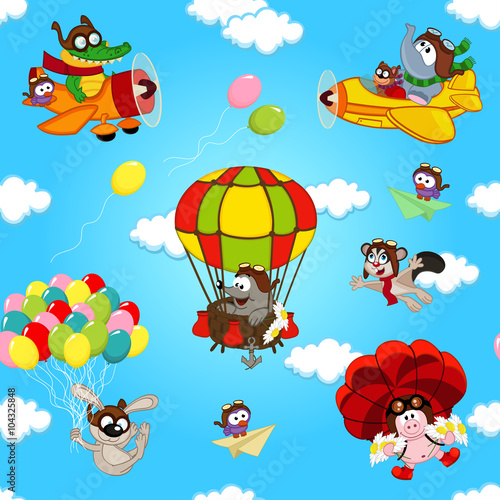 obraz PCV seamless pattern with animals in air - vector illustration, eps
