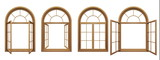 Collection of isolated wooden arched windows - 104327243