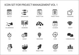 Project Management icon set. Various vector symbols for managing projects, such as task list, project plan, scope, quality, team, time, budget, quality, meetings.