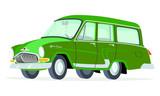 Caricatura GAZ Volga M22 Station Wagon verde vista frontal y lateral