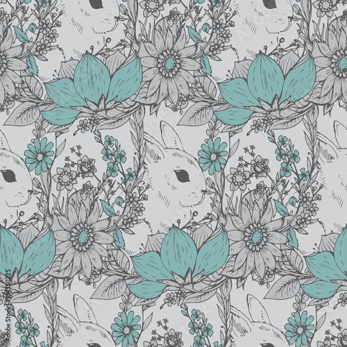 Materiał do szycia ector floral seamless pattern with hand drawn flowers and cute r