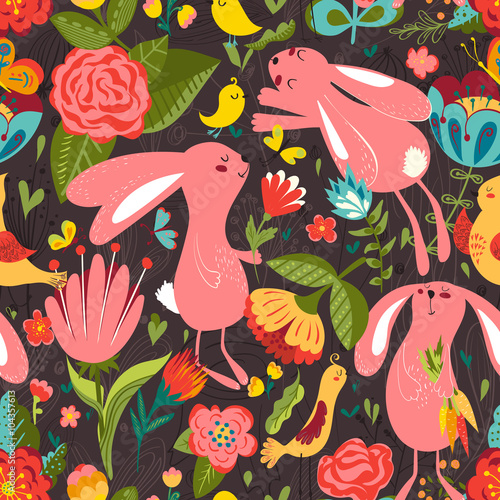 Cotton fabric Flowers and bunnies seamless pattern