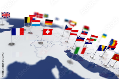 Leinwanddruck Bild Europe map with countries flags