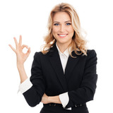 businesswoman showing okay gesture, isolated