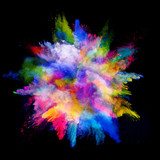 Explosion of colored powder on black background - Fine Art prints