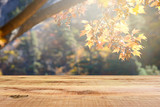 Wooden desk and blur autumn forest background.