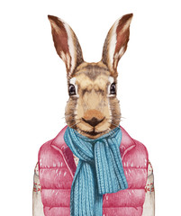 Animals as a human. Rabbit in down vest, sweater and scarf. Hand-drawn illustration, digitally colored.