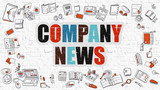 Fototapety Company News. Multicolor Inscription on White Brick Wall with Doodle Icons Around. Company News Concept. Modern Style Illustration with Doodle Design Icons. Company News on White Brickwall Background.