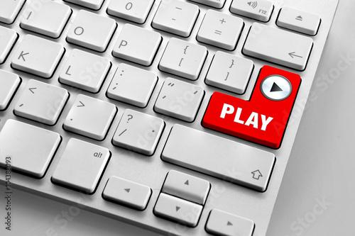 Poster Computer-Tastatur mit roten Play-Taste