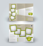 Brochure mock up design template for business, education, advertisement. Trifold booklet editable printable vector illustration. Green color.