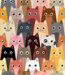 Cats. Cartoon vector seamless wallpaper.