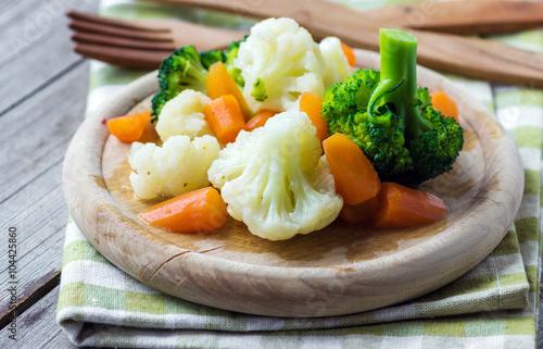 Steamed vegetables close up Poster