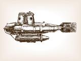 Antique submarine hand drawn sketch vector