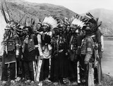 Group of Native Americans in traditional garb  - 104442282