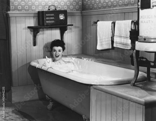 Woman in bathtub  - 104442215