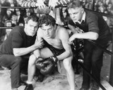 Boxer in corner with trainers  - 104449255
