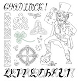 Doodle vector set with Leprechauns and celtic patterns