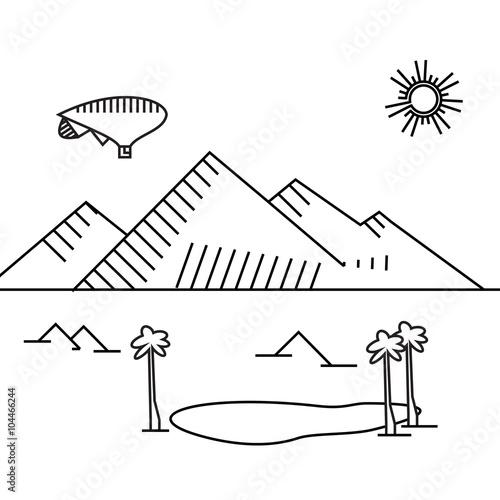Papiers peints Cartoon draw Image of outline aerostat, trees, mountain