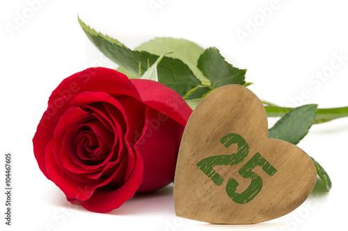 Poster rote Rose mit Holzherz Jubiläum 25 Jahre