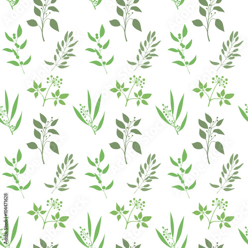 Fototapeta Seamless plant background. Endless pattern with green twigs and leaves silhouette. Vector illustration on white background
