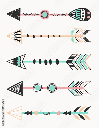 A set of five arrows, tribal decoration in black and mint.  - 104475624