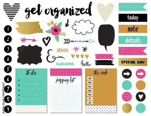 Signs and symbols for organized your planner. Template for scrapbooking, wrapping, wedding invitation, notebooks, diary.