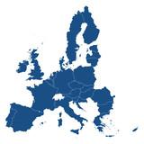 Europäische Union - Mitgliedsstaaten in Blau - 104477243