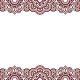 Mehndi, Indian Henna tattoo brown greetings card - 104479494